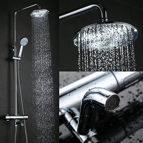 KINSE® Messing Duschbrauseset mit thermostat Duschset Regendusche Duschpaneel mit Handbrause,höhenverstellbare Brausestange(85~120cm) und Duschschlauch(150cm)