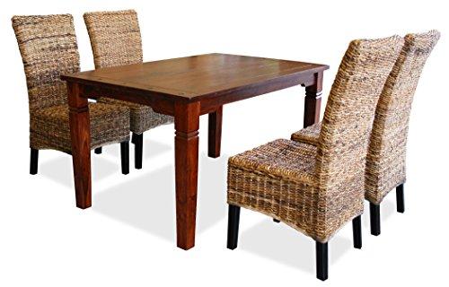 KMH®, Esszimmer Sitzgruppe / Tischgruppe *Toskana / Banana* (4 Rattanstühle aus dickem Bananengeflecht und 1 massiver Esszimmertisch) (#201725)