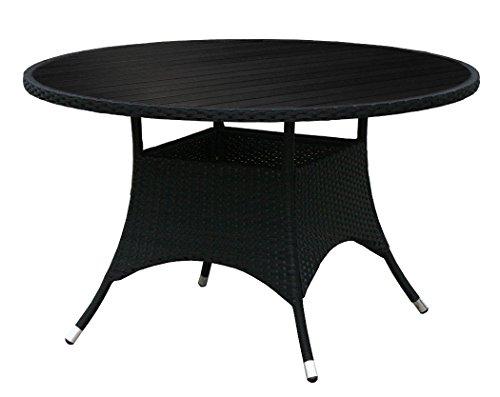 kmh runder gartentisch bobo mit scharzem polyrattan und schwarzer tischplatte 120cm. Black Bedroom Furniture Sets. Home Design Ideas