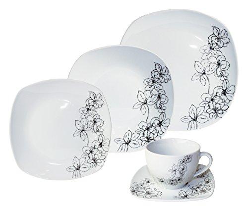 Arte Viva Kaffee- und Tafelservice TOSCA, 30-teilig, Porzellan, eckig, schwarz, design I love®
