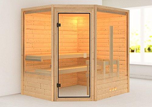 karibu sauna elia mit dachkranz eckeinstieg f r. Black Bedroom Furniture Sets. Home Design Ideas