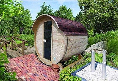Karibu Saunafass 1 Sparset inkl. Bioofen und Dachschindeln