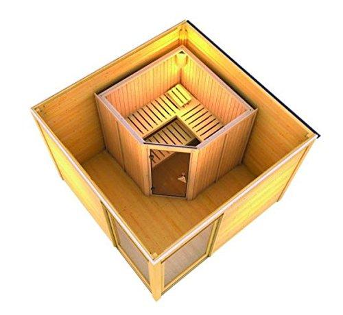 Karibu Saunahaus Cubus Premium inkl. Elementsauna Jarin terragrau