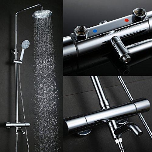 Kinse® 8 Zoll Zeitgenössisch Überkopfbrause (20 x 20 cm) Duschkopf Duschsystem Regendusche Shower Dusche Set mit Brausethermostat inkl. Handbrause und Wasserhahn