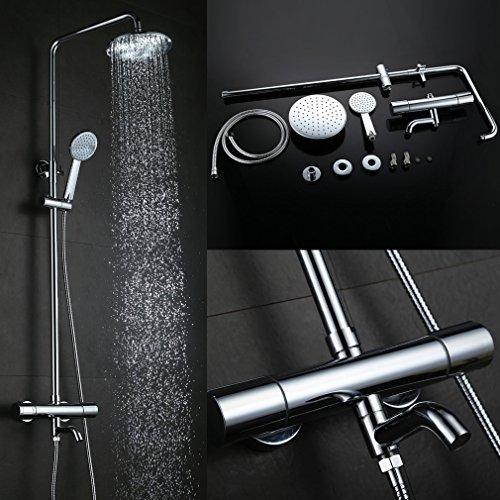 Kinse® Duschsystem Duschset mit Brausethermostat und Wasserhan aus Chrom Verchromt in schöne Design