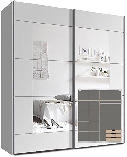 Kleiderschrank Schwebetürenschrank, ca. 200cm, inkl. 9 Einlegeböden, Türdämpfer für 2 Türen und 3x Schubladen Weiß Spiegel