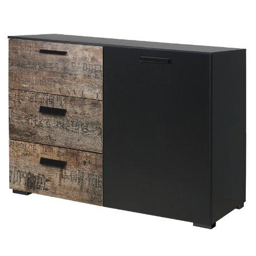 Kombikommode schwarz - Vintage braun Kommode Schlafzimmer Anrichte Sideboard