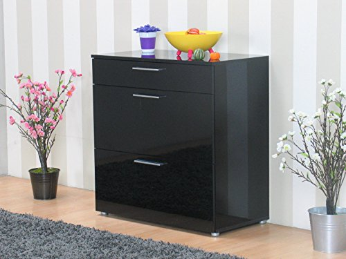 kommode infiniti sideboard schubladen flur schrank m bel hochglanz schwarz m bel24. Black Bedroom Furniture Sets. Home Design Ideas