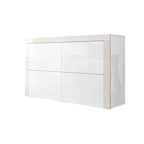 Kommode Sideboard La Paz V2, Korpus in Weiß Hochglanz / Front in Weiß Hochglanz mit Rahmen in Creme Hochglanz
