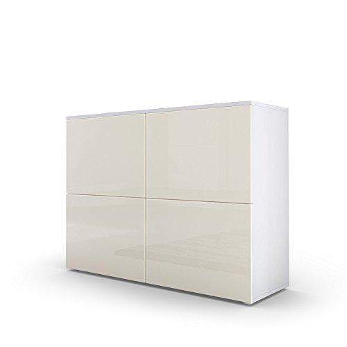 Kommode Sideboard Rova, Korpus in Weiß matt / Türen in Creme Hochglanz und Creme Hochglanz