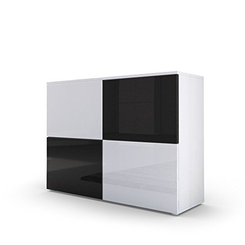 kommode sideboard rova korpus in wei matt t ren in wei hochglanz und schwarz hochglanz. Black Bedroom Furniture Sets. Home Design Ideas