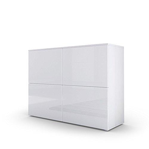 Kommode Sideboard Rova, Korpus in Weiß matt / Türen in Weiß Hochglanz und Weiß Hochglanz