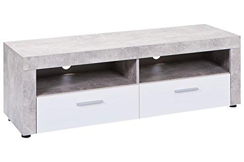 Inter Link 19603225 TV-Möbel, melaminharzbeschichtete Flachpressplatte, hochglanz weiß betondekor, 134 x 42 x 43 cm