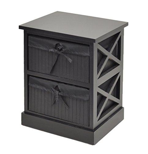 ts-ideen Kommode schwarz Beistelltisch Nachttisch 44 cm Küchen Flur Schrank Regal mit zwei Körben