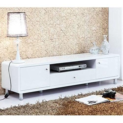 LOSCATO Hochglanz Lowboard Lack TV Board Schrank Stand Unterschrank (Weiß)