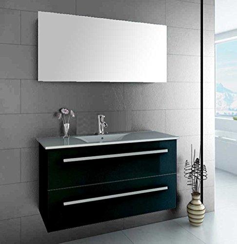 luxus4home design badmbel set serpia single schwarz hochglanz waschtisch 90cm inkl armatur und. Black Bedroom Furniture Sets. Home Design Ideas