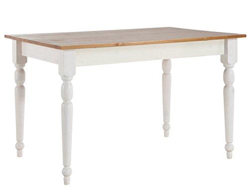 LifeStyleDesign 629062 Tisch Rimini 75 x 80 x 140 cm, kiefer massiv, weiß honig lackiert