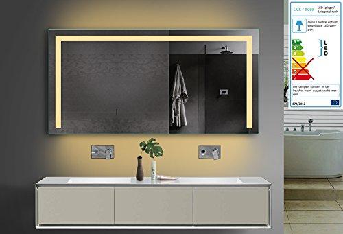 lux aqua design badezimmerspiegel mit kalt warmlicht w hlbar sowie integrierter steckdose. Black Bedroom Furniture Sets. Home Design Ideas