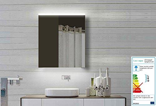 lux aqua alu badezimmerspiegelschrank bad spiegelschrank mit led beleuchtung 60x70 cm m bel24. Black Bedroom Furniture Sets. Home Design Ideas