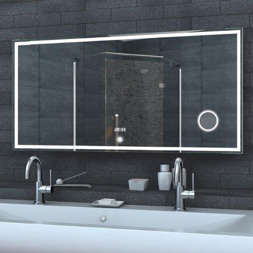 lux aqua badezimmerspiegel wandspiegel lichtspiegel led uhr schminkspiegel touch schalter 120 x. Black Bedroom Furniture Sets. Home Design Ideas