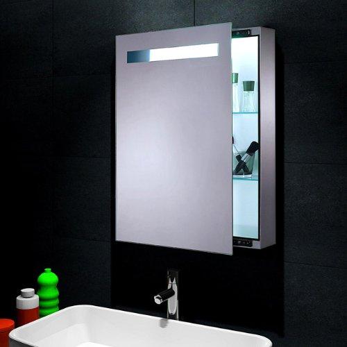 lux aqua design spiegelschrank mit led beleuchtung wandspiegel 70x45cm fl0811l m bel24. Black Bedroom Furniture Sets. Home Design Ideas