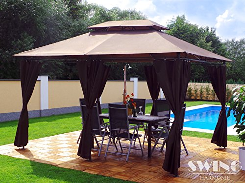 luxus pavillon 3x4m garten pavilon gartenm bel pavillion partyzelt gartenzelt braun m bel24. Black Bedroom Furniture Sets. Home Design Ideas