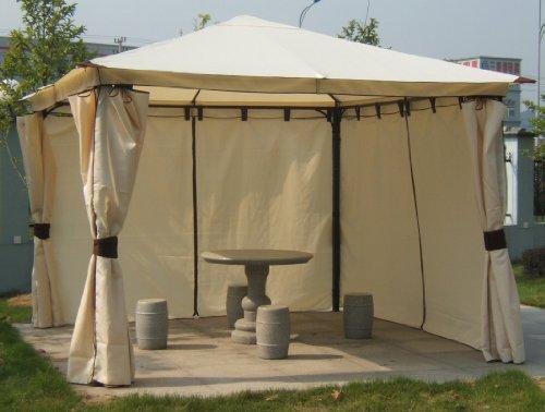 Luxus-Pavillon3x3m mit Seitenteilen, ecru, Dach wasserdicht