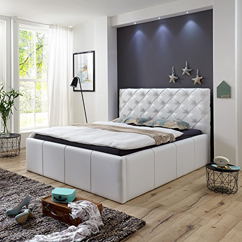 luxus polsterbett mit bettkasten nelly xxl 180x200 cm kunslederbett doppelbett ehebett wei. Black Bedroom Furniture Sets. Home Design Ideas