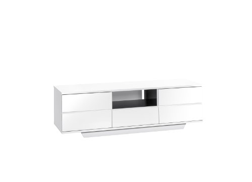 MAJA-Möbel 7706 5647 Lowboard, weiß Hochglanz - schwarz Hochglanz, Abmessungen BxHxT: 150 x 46 x 40 cm