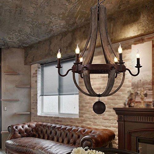 KJLARS Rustikal Holz Kronleuchter Vintage Pendelleucht Retro Hängelampe Leuchtmittel mit 5 Lichtquelle