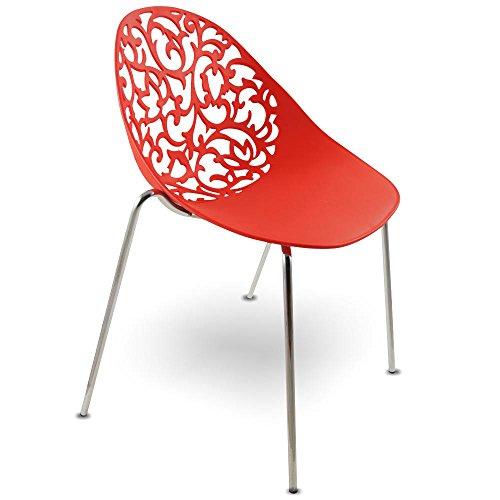 mojoliving MOJO Konferenz Stuhl Stapelbar Retro Designer Stühle in rot S07