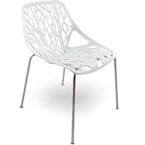 mojoliving MOJO Stuhl Küchenstuhl Plastikstuhl Retro Designer Stühle stapelbar (S09 - weiss)