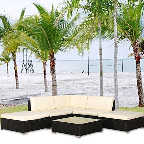 Malibu Poly Rattan Lounge Gartenlounge Schwarz Sofa Garnitur Polyrattan Gartenmöbel