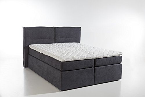 m belfreude boxspringbett slack anthrazit 180x200cm h2 inkl visco topper 7 zonen. Black Bedroom Furniture Sets. Home Design Ideas