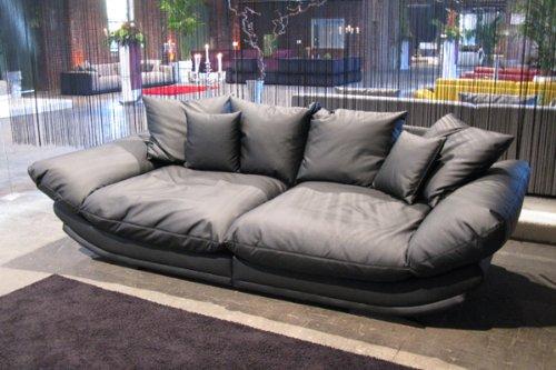 Mega-Loungesofa -Rose- riesige und megabequeme Sitzflächen - Kunstleder Schwarz -