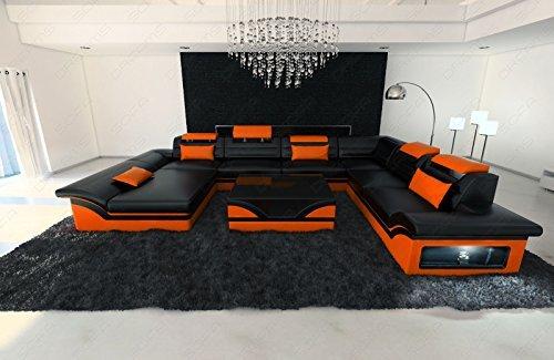 Designer Couch Enzo XXL Sofa Wohnlandschaft + LED schwarz orange