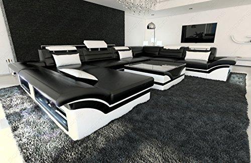 Moderne Wohnlandschaft Enzo XXL Designer Sofa + LED schwarz - weiss