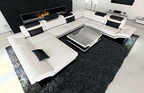 Designer Wohnlandschaft Enzo XXL moderne Couch + LED weiss - schwarz