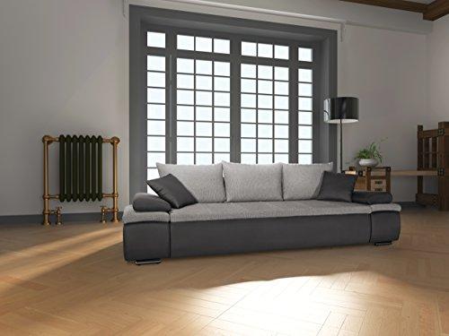 Mein Sofa CRD2 Schlafsofa Cali 3DL, 3er Sofa mit Schlaffunktion und Bettkasten, circa 277 x 85 x 101 cm, Sitzhöhe 42 cm, Mix aus Kunstleder und Webstoff