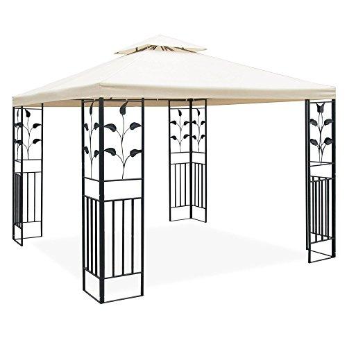 JOM Metall Pavillon 3 x 3 m mit Schmiedeeisen-Ornamenten, anthrazit-grau pulverbeschichtet, Dach in Cremeton, Polyester 180 GR, mit Lüftungsdach