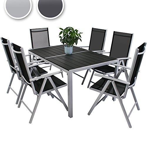 Miadomodo 7-teilige Sitzgarnitur Gartengarnitur Gartenmöbel Terassenmöbel Sitzgruppe Garten aus Aluminium mit Farbwahl
