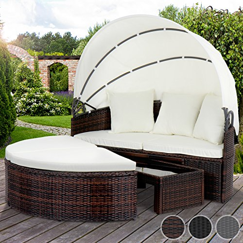 miadomodo polyrattan sonneninsel sonnenliege lounge gartenm bel mit aufklappbarem dach und tisch. Black Bedroom Furniture Sets. Home Design Ideas