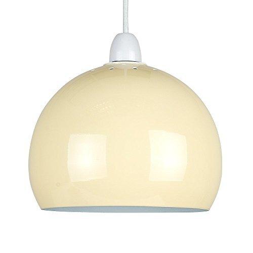 """MiniSun - Mini kuppelförmiger """"Arco"""" Lampenschirm im coolen Retrostil mit einem cremefarbigen Finish – für Hänge-/Pendelleuchte"""