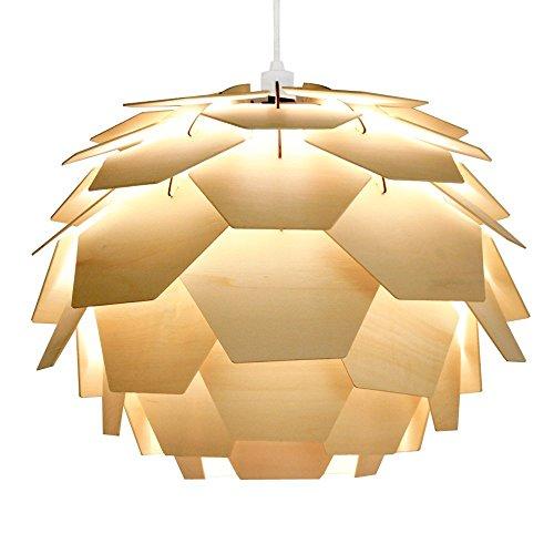 MiniSun – Moderner Lampenschirm aus Holz in Form der Artischocke und im Designerstil – für Hänge- und Pendelleuchte