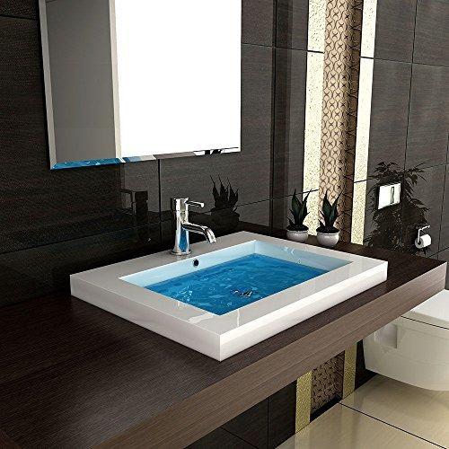 Eckiges mineralguss waschbecken mit berlauf 60 cm breite for Eckiges waschbecken