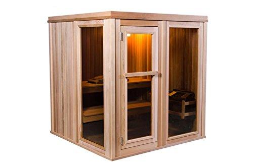 Modern Massivholzsauna aus Zedernholz 4 Personen Sauna - Für den Ofengebrauch