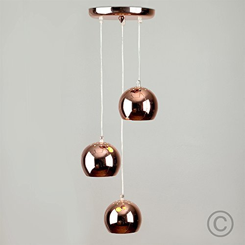 MiniSun – Moderne Deckenleuchte mit 3 hängenden und kuppelförmigen Leuchten im Retrostil und einem polierten und kupferfarbigen Finish – Pendelleuchte