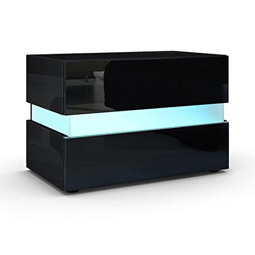 Nachttisch Nachtkonsole Flow, Korpus in Schwarz Hochglanz / Front in Schwarz Hochglanz inkl. LED Beleuchtung