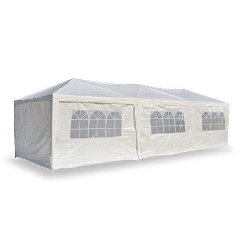 Nexos PE-Pavillon Partyzelt mit 6 Seitenteilen und 2 Eingängen für Garten Terrasse Feier oder Fest als Unterstand Plane 110g/m² wasserdicht 3 x 9 m weiß