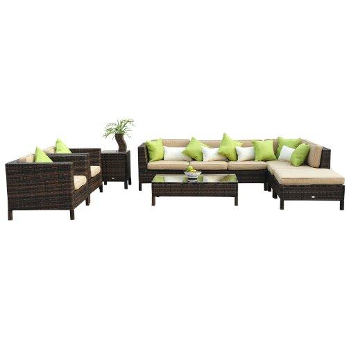Outsunny 37-tlg. Luxus Polyrattan Gartenmöbel-Set Lounge Garnitur mit zwei Beistelltischen